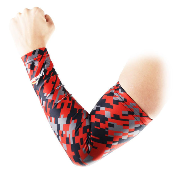 Digital Camouflage Red Black Compression Arm Sleeve