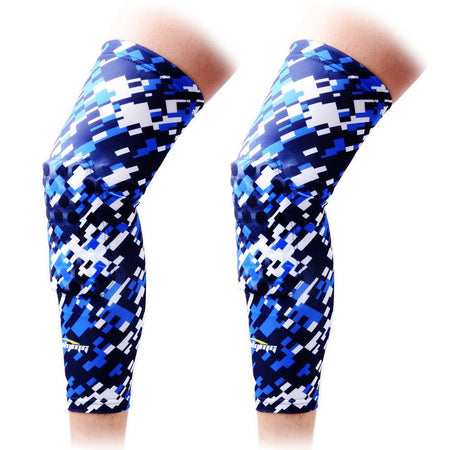 COOLOMG (Pair) Basketball Knee Pads For Kids Adult Digital Camo Blue Navy