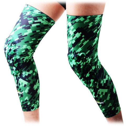 COOLOMG (Pair) Basketball Knee Pads For Kids Adult Digital Camo Green Black