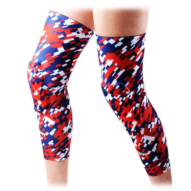 COOLOMG (Pair) Basketball Knee Pads For Kids Adult Digital Camo USA Flag Red Blue