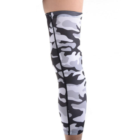 COOLOMG Gray Black Camouflage Knee Long Sleeve Protector EVA Pads Gear XS-XL (1PCS)
