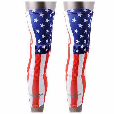 USA FLAG Padded Long Leg Knee Sleeves 2 PCS