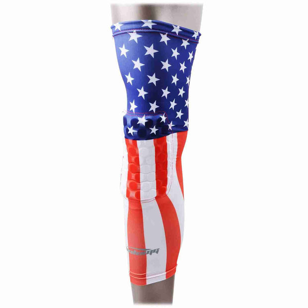 USA FLAG Padded Long Leg Knee Sleeves