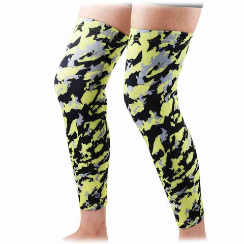 COOLOMG (Pair) Basketball Compression Knee Sleeves Animals Wild Long Leg Green Neon SP015WD_GREEN