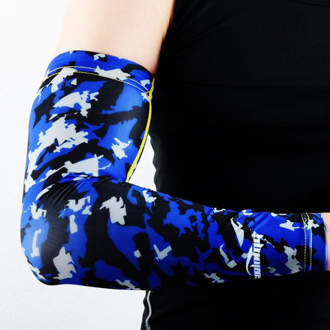 COOLOMG (1 Piece) Compression Arm Sleeve Youth Adult Anti-slip UV Protection Baseball Blue
