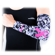 1 Piece COOLOMG Arm Sleeve Basketball Running Football Ribbon Breast Cancer Awareness