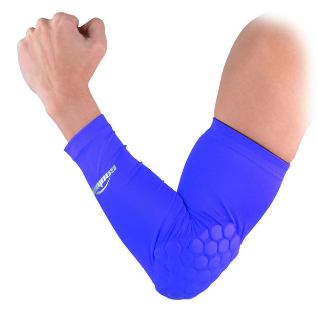 COOLOMG 1PCS Arm Sleeve with Pad Blue Protector Gear Shooting Hand Arm Elbow Sleeve