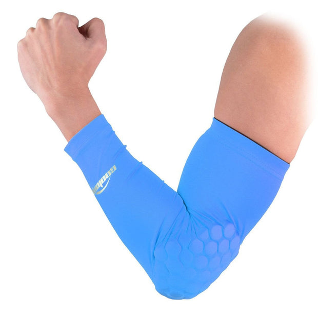 COOLOMG 1PCS Arm Sleeve with Pad Light Blue Protector Gear Shooting Hand Arm Elbow Sleeve