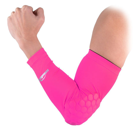COOLOMG 1PCS Arm Sleeve with Pad Pink Protector Gear Shooting Hand Arm Elbow Sleeve