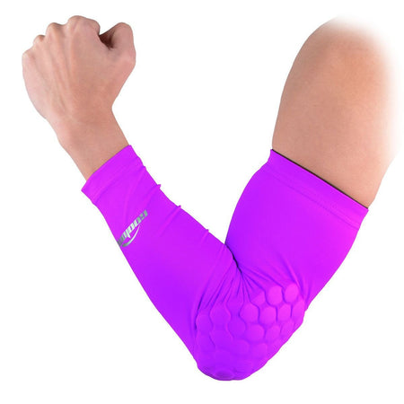 COOLOMG 1PCS Arm Sleeve with Pad Purple Protector Gear Shooting Hand Arm Elbow Sleeve