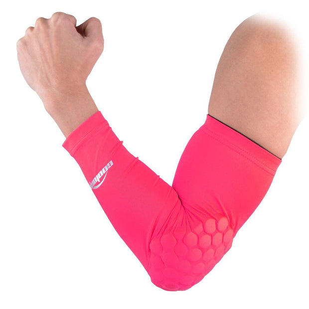 COOLOMG 1PCS Arm Sleeve with Pad Red Protector Gear Shooting Hand Arm Elbow Sleeve