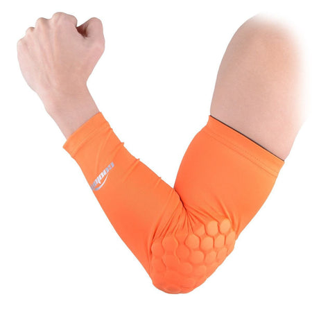 COOLOMG 1PCS Arm Sleeve with Pad Orange Protector Gear Shooting Hand Arm Elbow Sleeve