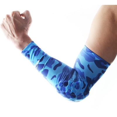 COOLOMG 1PCS Anti-slip Arm Sleeve with Pad Camouflage Blue