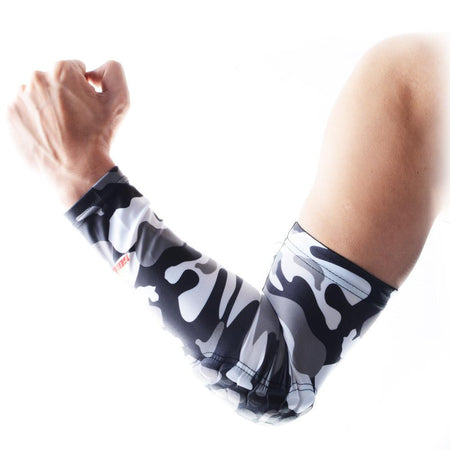 COOLOMG 1PCS Anti-slip Arm Sleeve with Pad Camouflage Grey