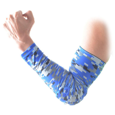 COOLOMG 1PCS Anti-slip Arm Sleeve with Pad Digital Camouflage Blue