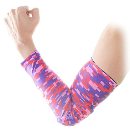 COOLOMG 1PCS Anti-slip Arm Sleeve with Pad Digital Camouflage Pink