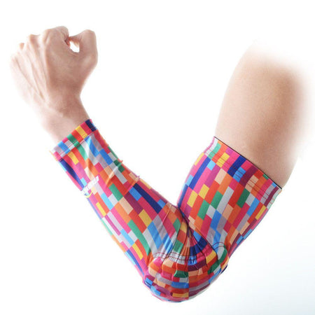 COOLOMG 1PCS Anti-slip Arm Sleeve with Pad Rainbow