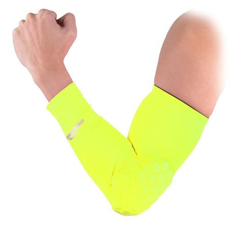 COOLOMG 1PCS Arm Sleeve with Pad Fluoresent Green Protector Gear Shooting Hand Arm Elbow Sleeve