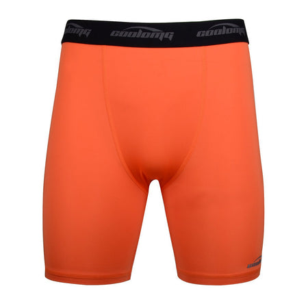 COOLOMG Men's Training Shorts Compression Underwear Fitness Pants Gym Orange