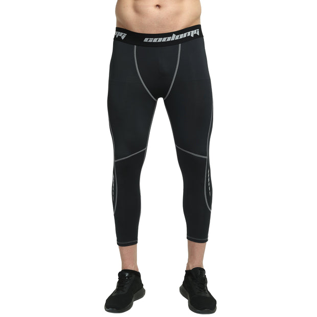Black Compression 3/4 Tights Pants for Youth & Men