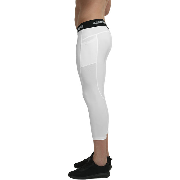White 3/4 Leggings With Side Pockets