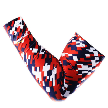 COOLOMG 1PCS Compression Arm Sleeve Digital Camouflage American Flag Red Black