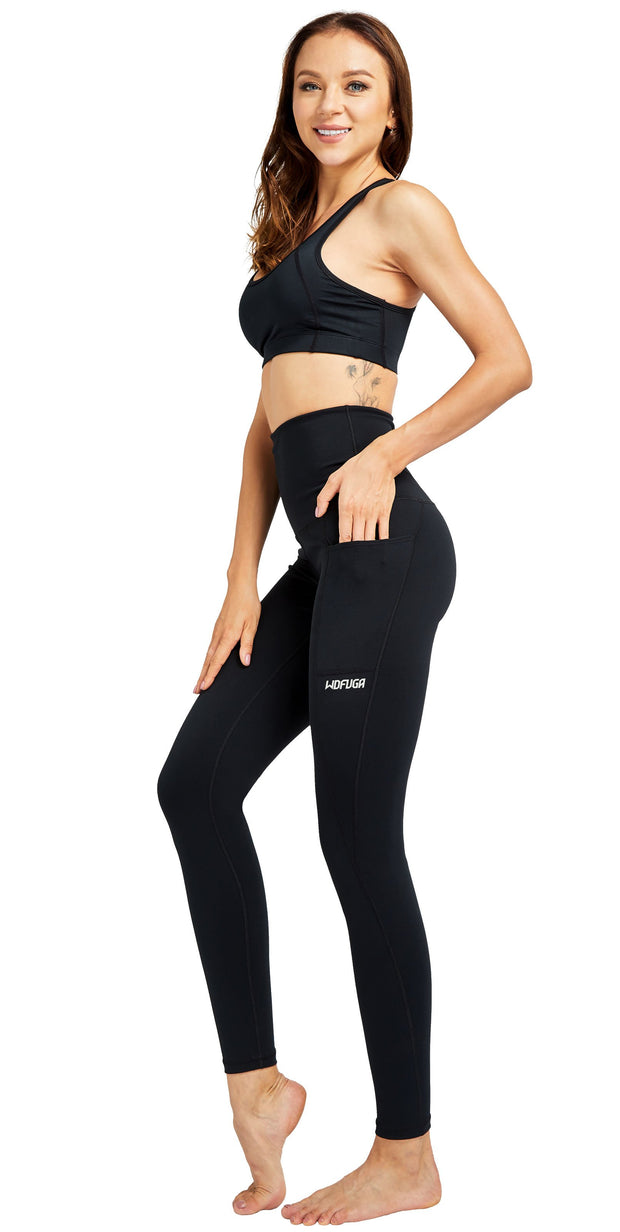 WDFUGA Women Yoga leggings high waisted with side Pocket black