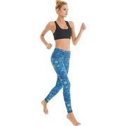 Women Blue Waves Printed Yoga Pants