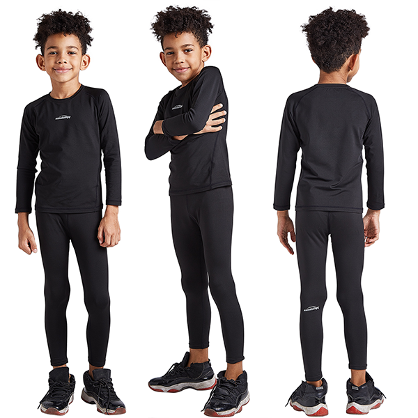 Boys & Girls Black Thermal Compression Tops & Bottom Set