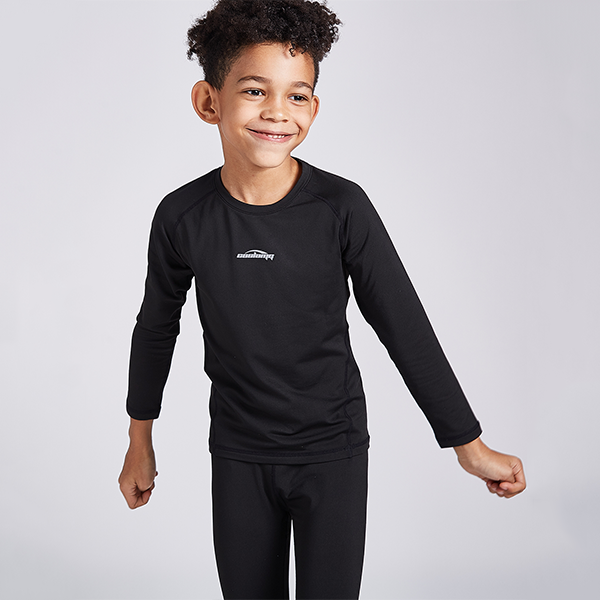 Boys Girls  Black Thermal Compression Shirt