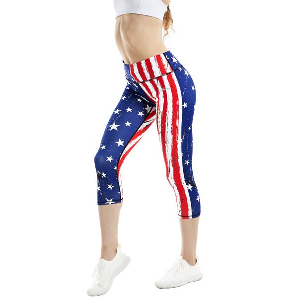 Women Compression American Flag Yoga Capris