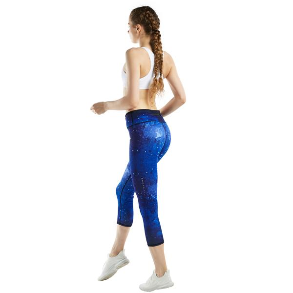 Women Sky Printed Yoga Pants Capris