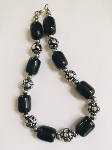 Black Barrel Bead and Silver Spots Necklace