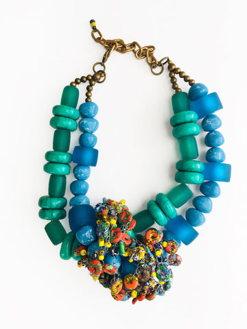 Printed Bead Cluster Necklace
