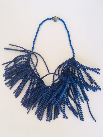 Blue Fringe Necklace