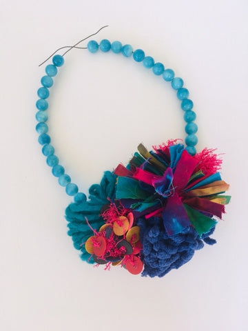 Yarn and Tie Dye Necklace