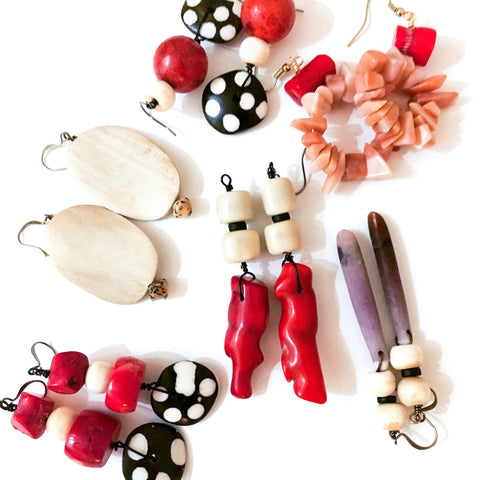 Earrings: Coral and Bone Beads
