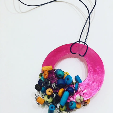 Pink Hoop with Colorful Bead Cluster