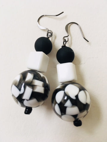 Black/White Sphere Earrings