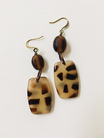 Spotted Red Brown Earrings