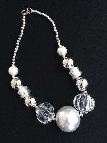 Jumbo Pearl and Silver Necklace
