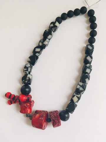 Raw Coral Chunks Necklace