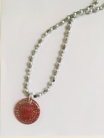 Red and Silver Crackle Pendant on a Pearl Strand