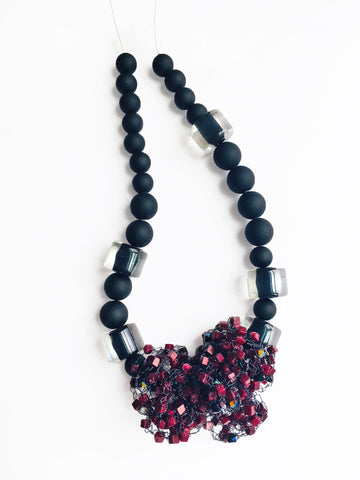 Black Beaded Strand with Stone Cluster