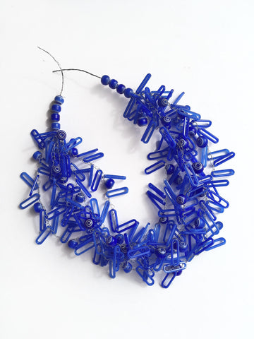 Blue Oblong Bead Necklace