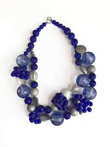 Blue Netted Bead Necklace