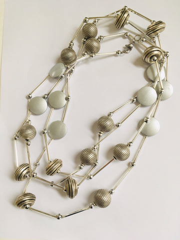 Long Silver Bead Necklace