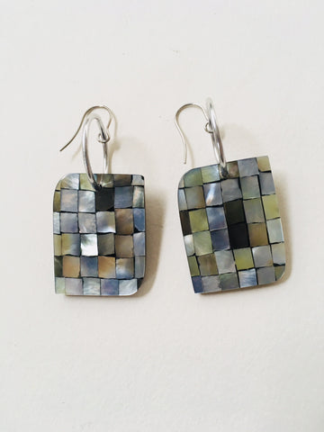 Mother of Pearl Checkerboard Earrings