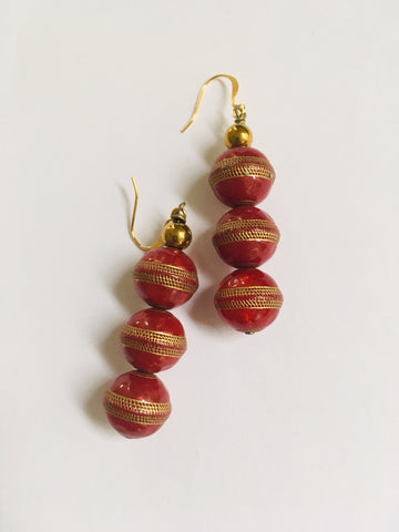 Red with gold trim earrings
