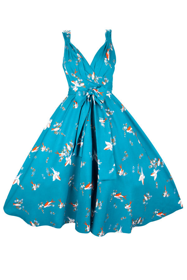 Retro Marilyn Tie Back Teal Flutter Swing Dress